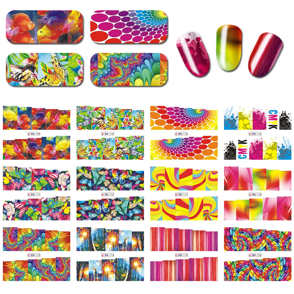 12sheets in one set BN109 120 12 Designs Charming Nail Art Beauty Girl Nail Sticker Water Transfer Fashion Full Cover Wraps in Stickers Decals from Beauty Health