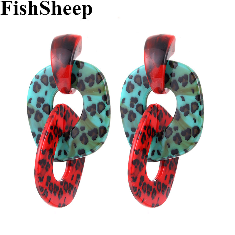 FishSheep Statement Leopard Acrylic ZA Drop Earrings For Women Geometric Vintage Resin Big Long Dangle Earring Fashion Jewelry