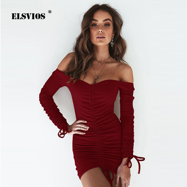 a53a2be0b6c ELSVIOS Sexy Off Shoulder Bodycon Rib Knitted Dress Women Slash Neck Long  Sleeve Autumn Dress Female Lace Up Club Ruched Dress