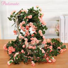 Rose Artificial Flower Fake Hanging Decorative Roses Vine Plants Leaves Artificials Garland Flowers Wedding Wall Decoration