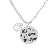 Cat Dog Lover Pet Paw Print Necklaces Hollow letter All Paws Matter Word necklace Supply Box Chain Jewelry Gift For Mom mother dog mother wine lover