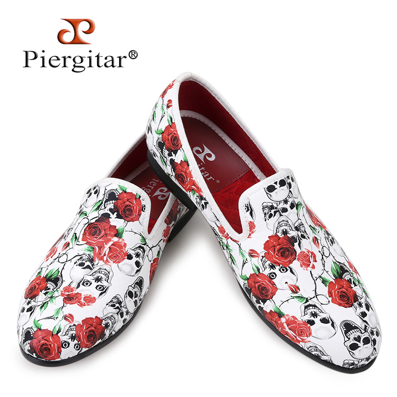 Piergitar 2017 New style Skull and Flowers Prints white color men shoes Fashion men smoking slipper Wedding Party men