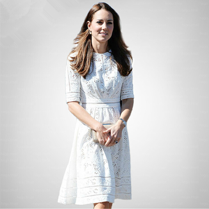 Kate Middleton Fashion Princess Dress Women's Elegant White Cotton Embroidery Hollow Casual High Quality Dress sale