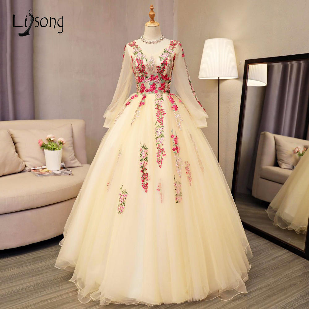 Vintage Embroidery Puffy Ball Gowns With Full Flare Sleeves Tulle Long   Prom     Dresses   Appliques   Prom   Gown Vestido De Festa A135
