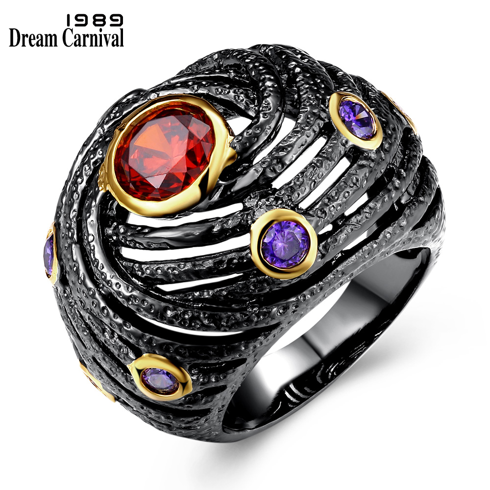 DreamCarnival 1989 Unique Engagement Ring for Women Black Gold Color Hip Hop Party Jewelry Red Purple Zirconia DC1989 Anillos dc1989 women gun