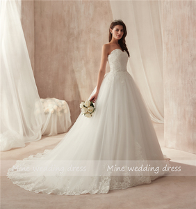 Image 2 - Ball Gown Strapless Tulle Wedding Dress Lace Fitted Bridal Dress with Court Train Wedding Gowns Vestido De Noiva 2021