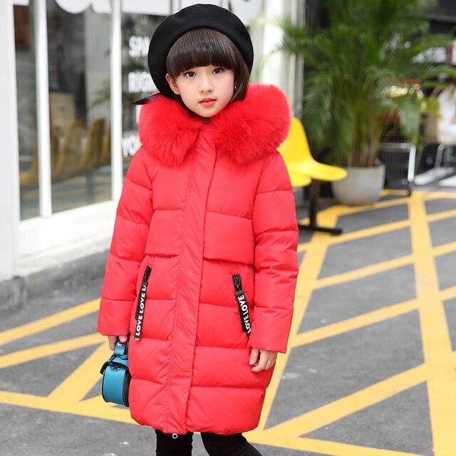 Большой для девочек зимние Пуховики и парки детская Костюмы теплая детская белая утка Пух меховой воротник с капюшоном Пальто и пуховики для холодной зимы-30 градусов одежда