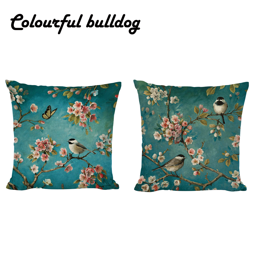 Flowers And Birds Scenery Decorative Cushion Covers Bright Colorful Pillow Case For Sofas 3d Printed Stylish Car Seat Home Decor