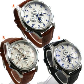 44mm PARNIS biała tarcza niebieski ręce Moon Phase automatyczne self-wiatr mechaniczne zegarki męskie zegarki zegarki mechaniczne tanie i dobre opinie Mechaniczne Zegarki Na Rękę 13mm 22mm Kompletna kalendarz 22cm Skóra Okrągły 3Bar Hardlex Moda casual Klamra Nie pakiet
