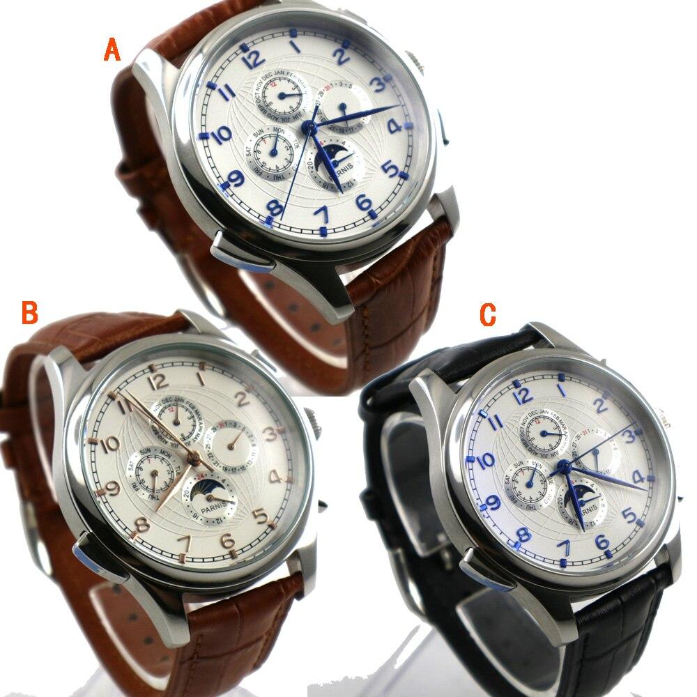 44mm PARNIS blanco dial azul manos Luna fase automático auto viento movimiento mecánico hombres relojes mecánicos-in Relojes mecánicos from Relojes de pulsera    1