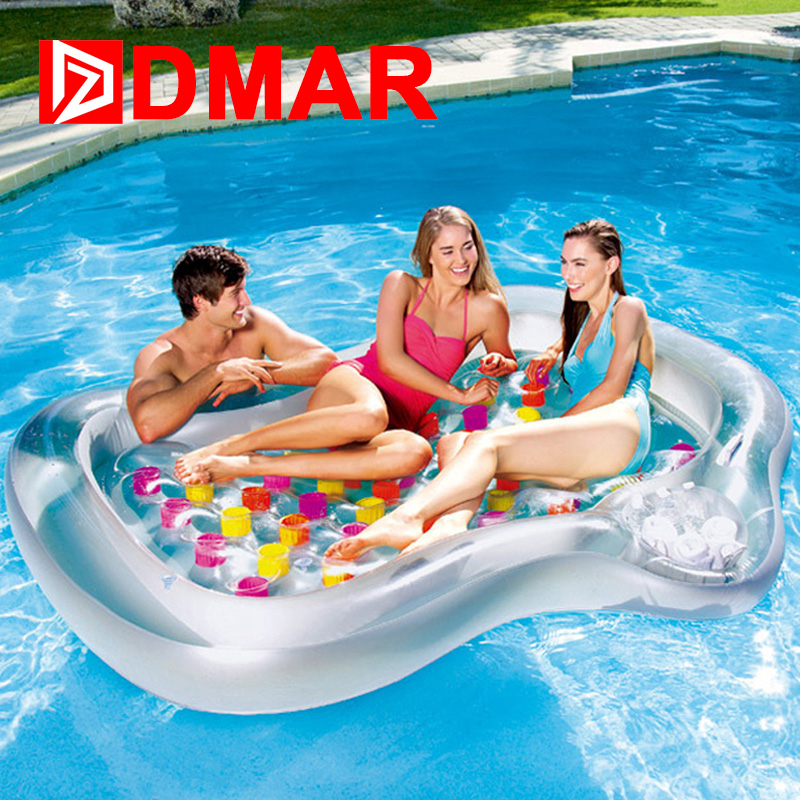DMAR Giant Inflatable Pool Float Floating Row Bed Inflatable Mattress Swimming Ring Circle Sunbathe Sea Summer Water Party Toys keangel 2017 latest high quality brand new double floating row inflatable floating bed floating bed beach mat water cushion