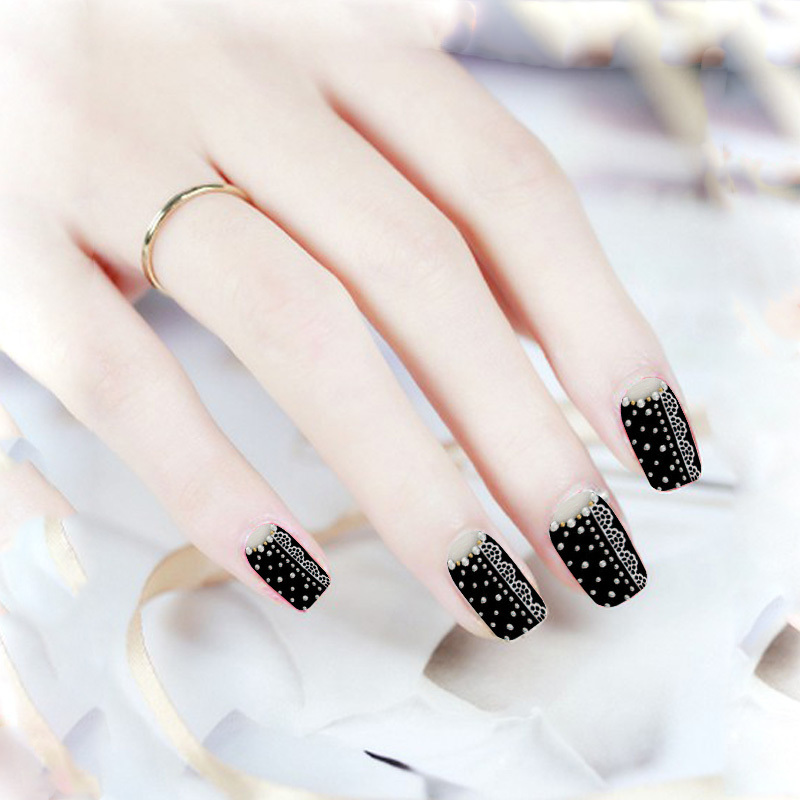 2015 Fall Design Diamond Nail Stickers Black Full Cover Nail Art ...