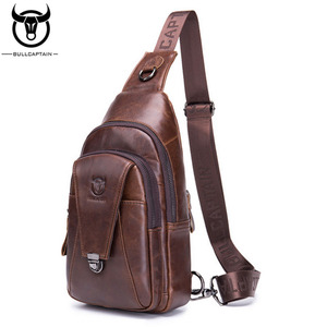 Image 2 - BULL CAPTAIN Quality Men Leather Crossbody Bags Cowhide Casual Riding Sling Shoulder Messenger Bag Chest Day Back Pack