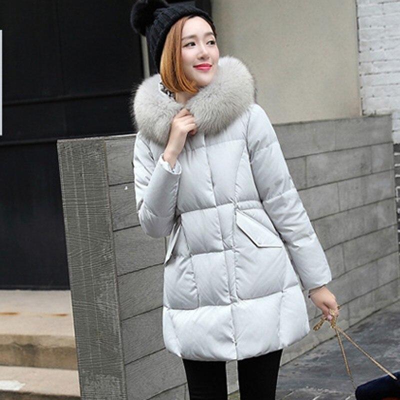 Blanc Long Oie Black pink Grand gray Duvet Grande Et Fourrure Coréenne Femme 2019 Chaud De Survêtement Doudoune Canard Parka Okd511 Mince Manteau D'hiver Épais Taille SFFOYq6w