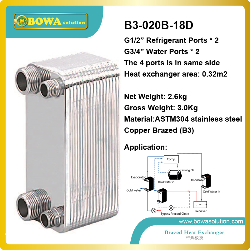 B3-020-18D copper brazed stainless steel small hole channel plate heat exchanger  for heat pump VRV air conditioner b3 014b 32d copper brazed stainless steel plate heat exchanger working as condenser or evaporator replaces kaori k030 30m gb6