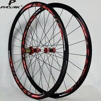 700C Aluminum alloy Wheels Carbon Fiber Hub Road Bicycle 700C Wheelset V/C Brakes 30MM Rim direct pull stainless steel spoke