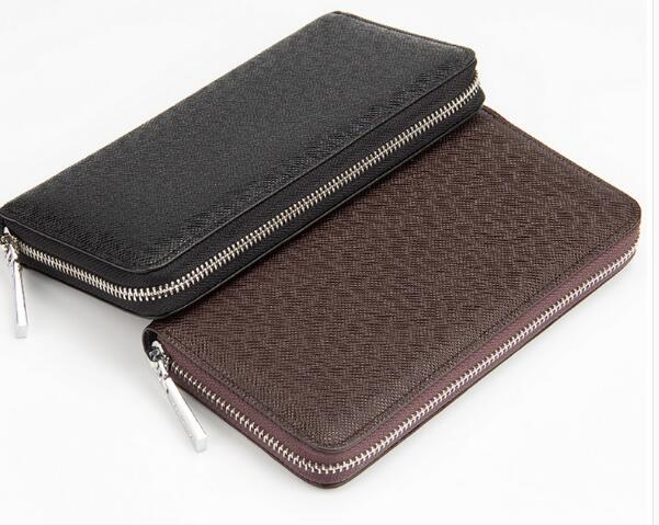 2017 new fashion genuine leather wallet high quality zipper wallet free shipping