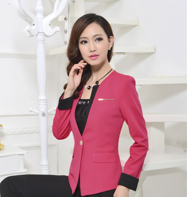 36fc88a3b062d Plus la Taille Printemps Automne Femme Blazers Femmes D affaires Vêtements  de Travail Uniforme Style Vestes Tops Manteau Bureau Dames Blaser Feminino