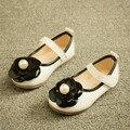 Обувь обувь для девочек красивый цветок искусственная кожа девушки туфли дети мода жемчуг принцесса одна обувь девушки высокое качество