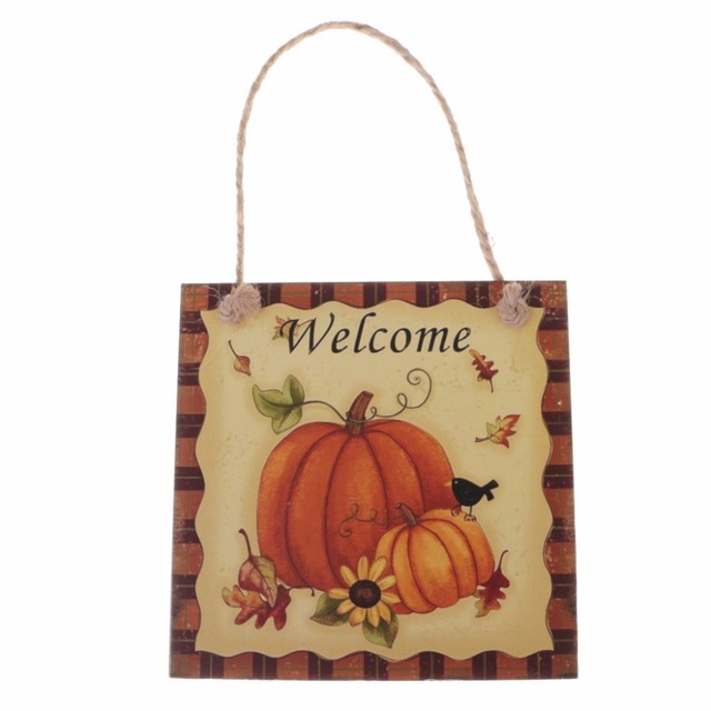 Rustic Wooden Plaque Welcome Pumpkin Hanging Board Wall Art ...