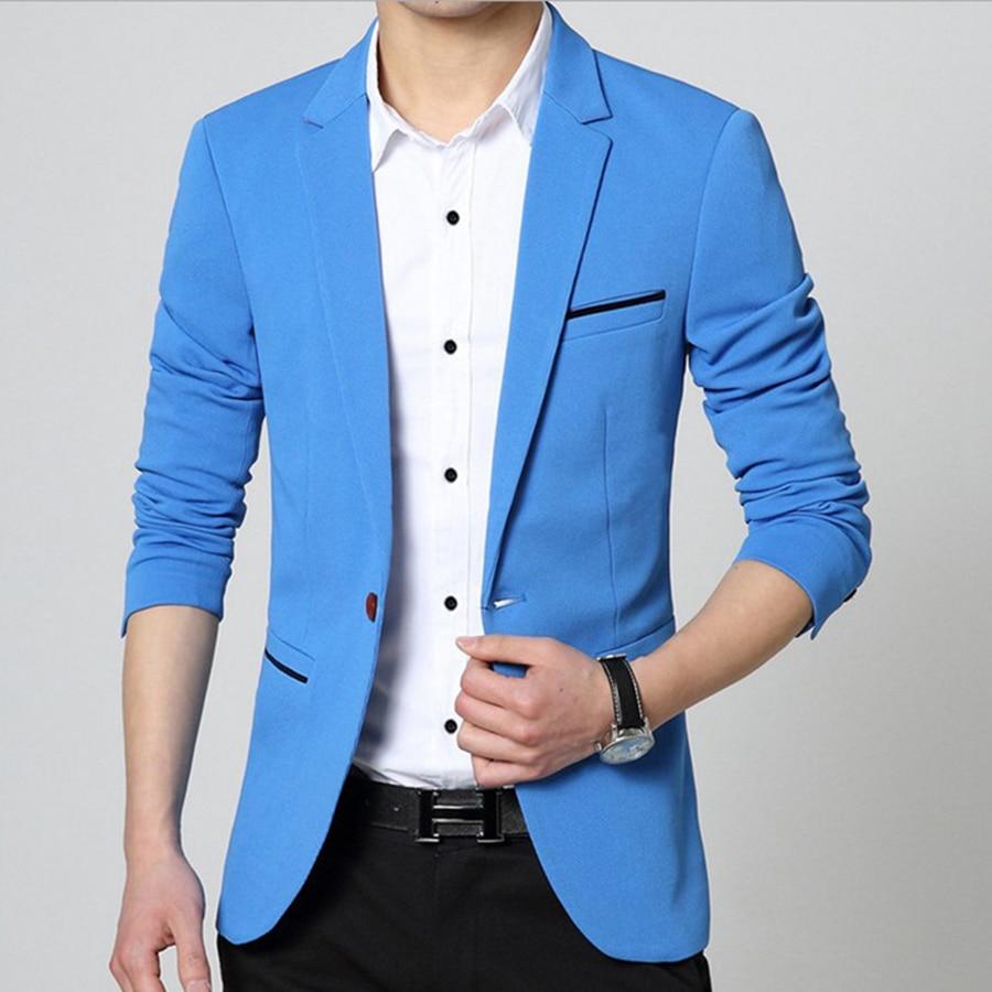 Men Korean Slim Fit Fashion Cotton Blazer Suit Jacket Black Blue Beige Plus Size M to 5XL Male Blazers Men Coat Jacket Costumes