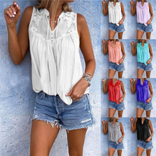 Hot Sales 2019 New Women's stitching embroidered V-neck sleeveless shirt T-shirt vest summer sexy lace Sleeveless top v neck sleeveless lace stitching design vest
