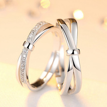 lovers ring lettering bowknot opening ring men and women to buddhist monastic discipline mouth silver ornaments