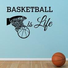 Basketball Is Life Wall Decal Quote Basketball Hoop Wall Sports Vinyl Stickers Nursery Kids Teens Boys Room Art Home Decor