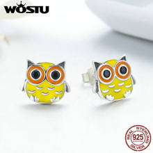 WOSTU Animal Collection 100% 925 Sterling Silver Cute Owl Animal Stud Earrings for Women Sterling Silver Jewelry Brincos FIE229(China)