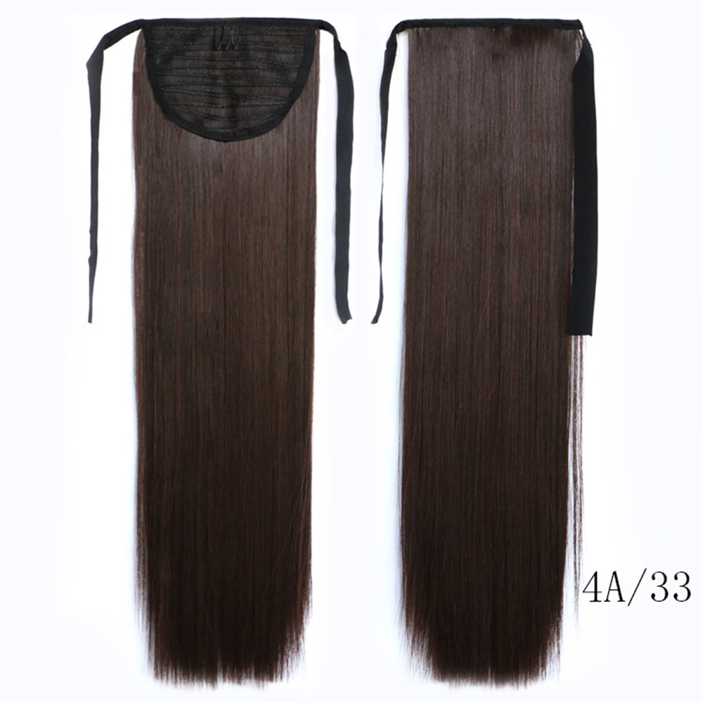 Feibin Tie på Ponytail Hair Extension Tail Hairpiece Långa Straight Synthetic Women's Hair B43