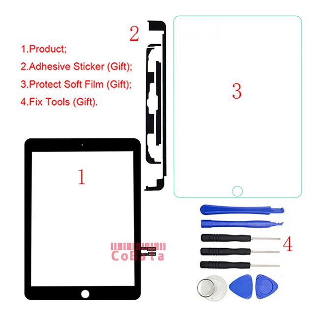 1 adet iPad 9.7 için (2018 sürümü) iPad 6 için 6th Gen A1893 A1954 dokunmatik ekran Digitizer ön dış paneli cam + araçları