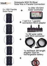 Solarparts 12V 5x18W DIY RVBoat Kits Solar System 18W flexible solar panel1x 10A solar controller 1 set 3M MC4 cable 1 set clip