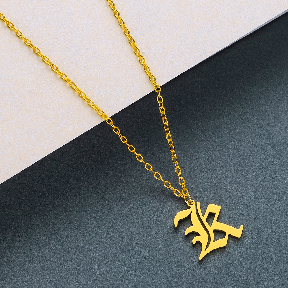 Todorova Old English Custom Capital Initial A-Z Letter Pendant Necklace Men Vintage Font Personalized Necklace Women Jewelry 32