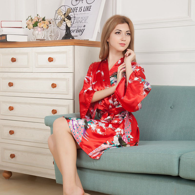 Women's Clothing Special Section White Peacock Print Bridesmaid Dress Pajamas Nightdress Kimono Cardigan Dress