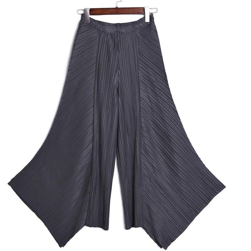 LANMREM 2019 New Fashion Women Clothes High Waist Pleated Wide Legs Asymmetrical Loose Trousers Female Pants WG53901