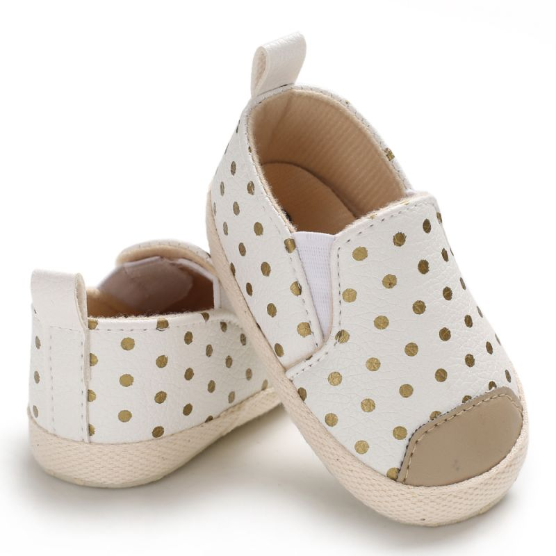 Spring Summer Autumn Infant Baby Girls PU Leather Shoes Casual Solid Color Soft Sole Comfortable Polka Dot First Walker Shoes