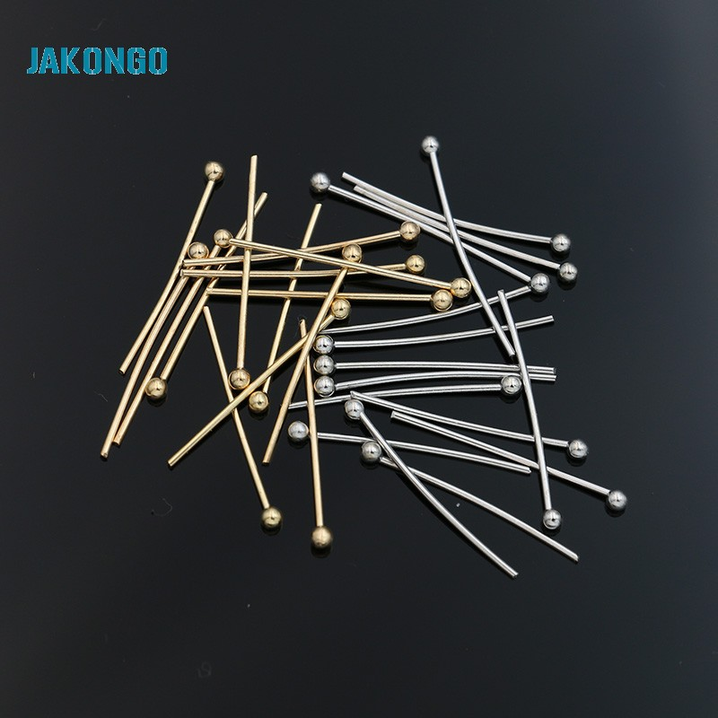 JAKONGO 200pcs/lot Head Pins with Ball End Ball Needles for Beading Jewelry Findings For Making Bracelet Necklace 22mm 30mm 200pcs lot 2sa950 y 2sa950 a950 to 92 transistors