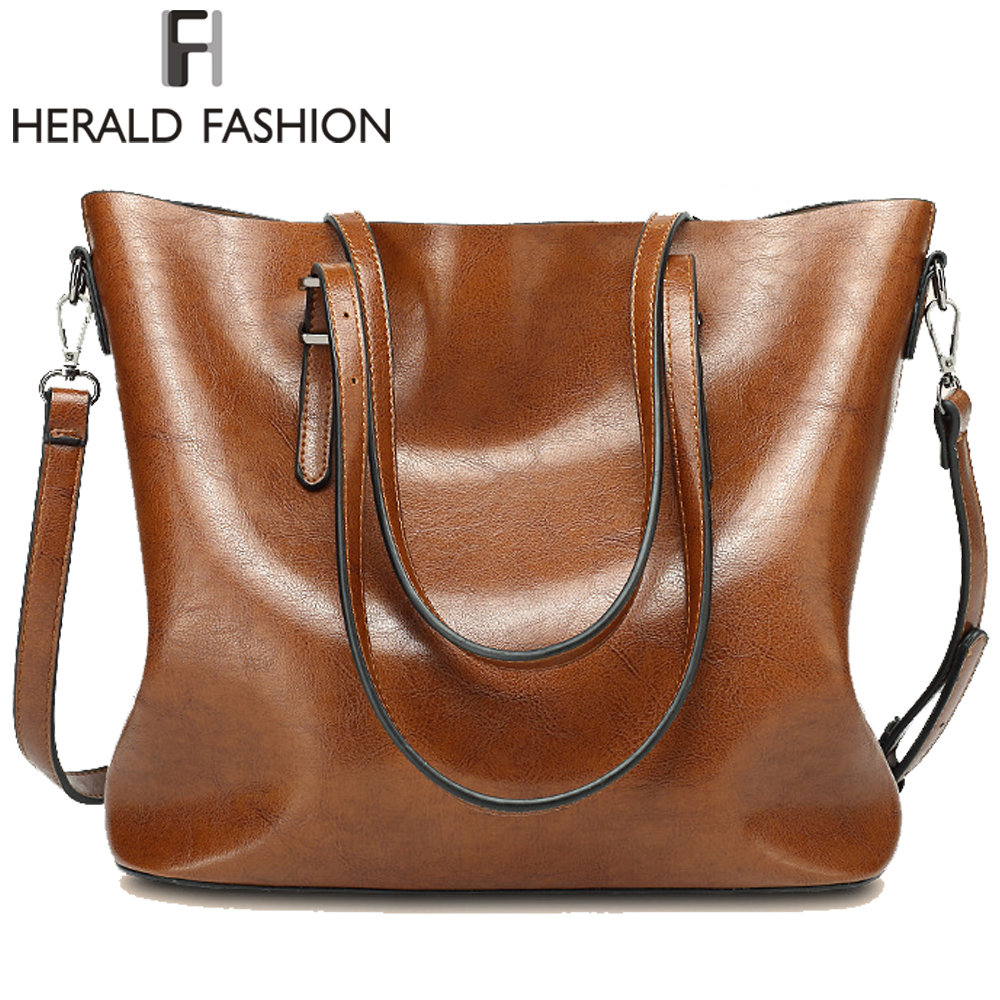 Herald Fashion Women's Handbags Large Capacity Composite Bag High Quality PU Leather Female  Shoulder Bags Casual Tote Solid wholesale blanks pu faux leather handbags casual tote bag large capacity square satchels bag dom1038113