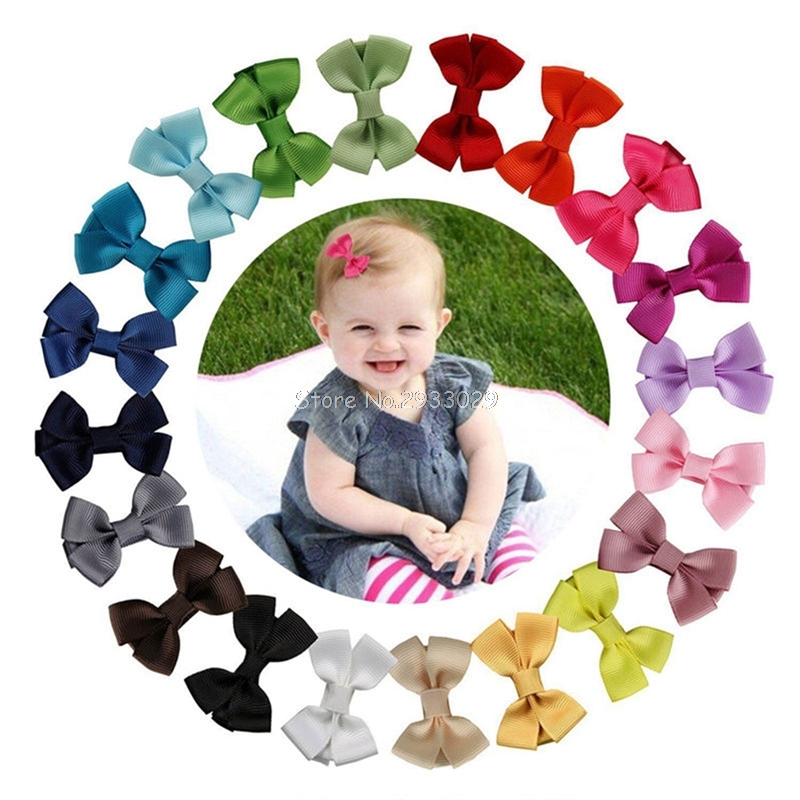 20Pcs/lot Girls Cute Ribbon Hair Bows Handmade Solid Hair Pins With Clips Mini Hair Clip Kids Hair Accessories -B116 1set kawaii kids ribbon hair bows accessories barrette hairpin for child girl hair ornaments clips pin hairclip headdress
