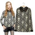 New 2017 Fashion Double-layer rivet punk Skull T-Shirts for women autumn winter trend casual long sleeve tops Tees shirts
