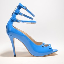 2015 Fashion Soft Leather Women's Stiletto Heel Sandals chaussure femme Cover Heel Platform With Buckle Ankle Strap  Shoes