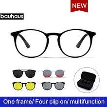 Bauhaus Newest four Lens Italy Design Magnet Sunglasses .Unisex four color fashion Sun Glasses  Myopia Eyeglasses.Optical Frame
