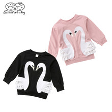 e8426ff4b Emmababy Autumn Toddler Infant Kid Baby Girl Cartoon Swan Long Sleeve Lace  Cotton T-shirt Top Sweater shirt Clothes