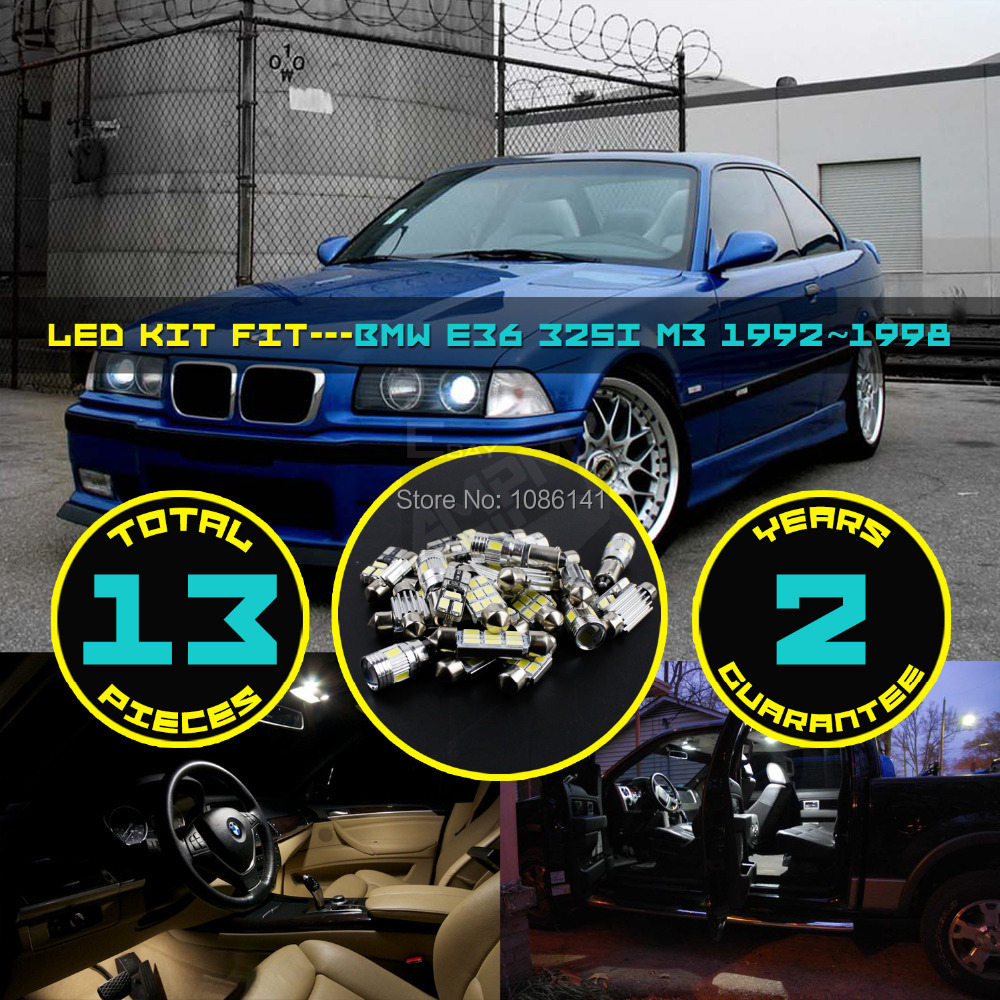 ФОТО 13x 5630 5730 LED Canbus Dome Map License plate Light Glove Box Courtesy Interior Kit Fit for E36 325i M3 1992~1998 White #82