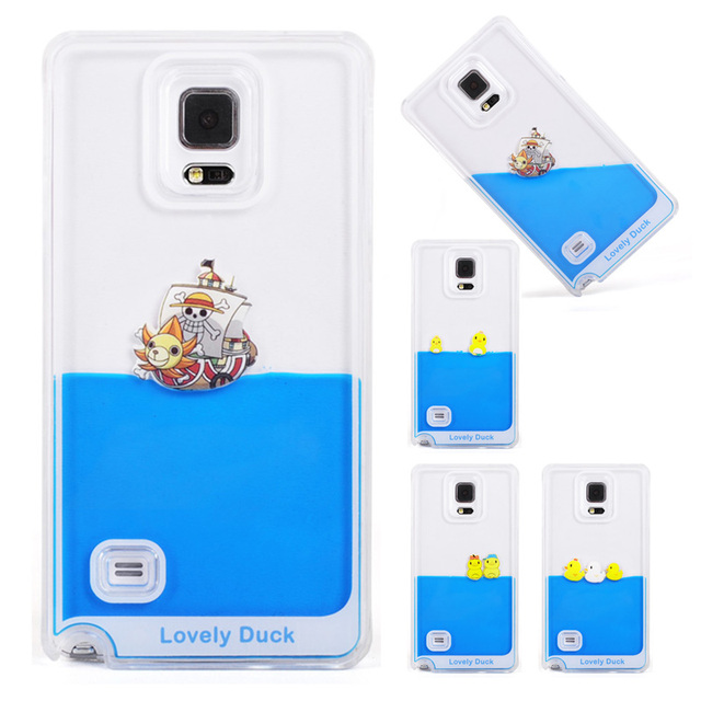 Note 3 Case Flowing Liquid Swimming Yellow Duck Clear Cover Coque For Samsung Galaxy