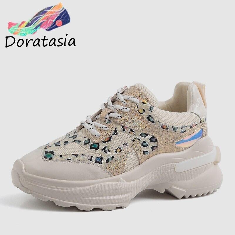 DORATASIA 2019 INS Patchwork chaud en cuir véritable maille baskets femmes grande taille 35-42 dames décontracté femmes plate-forme chaussures femme