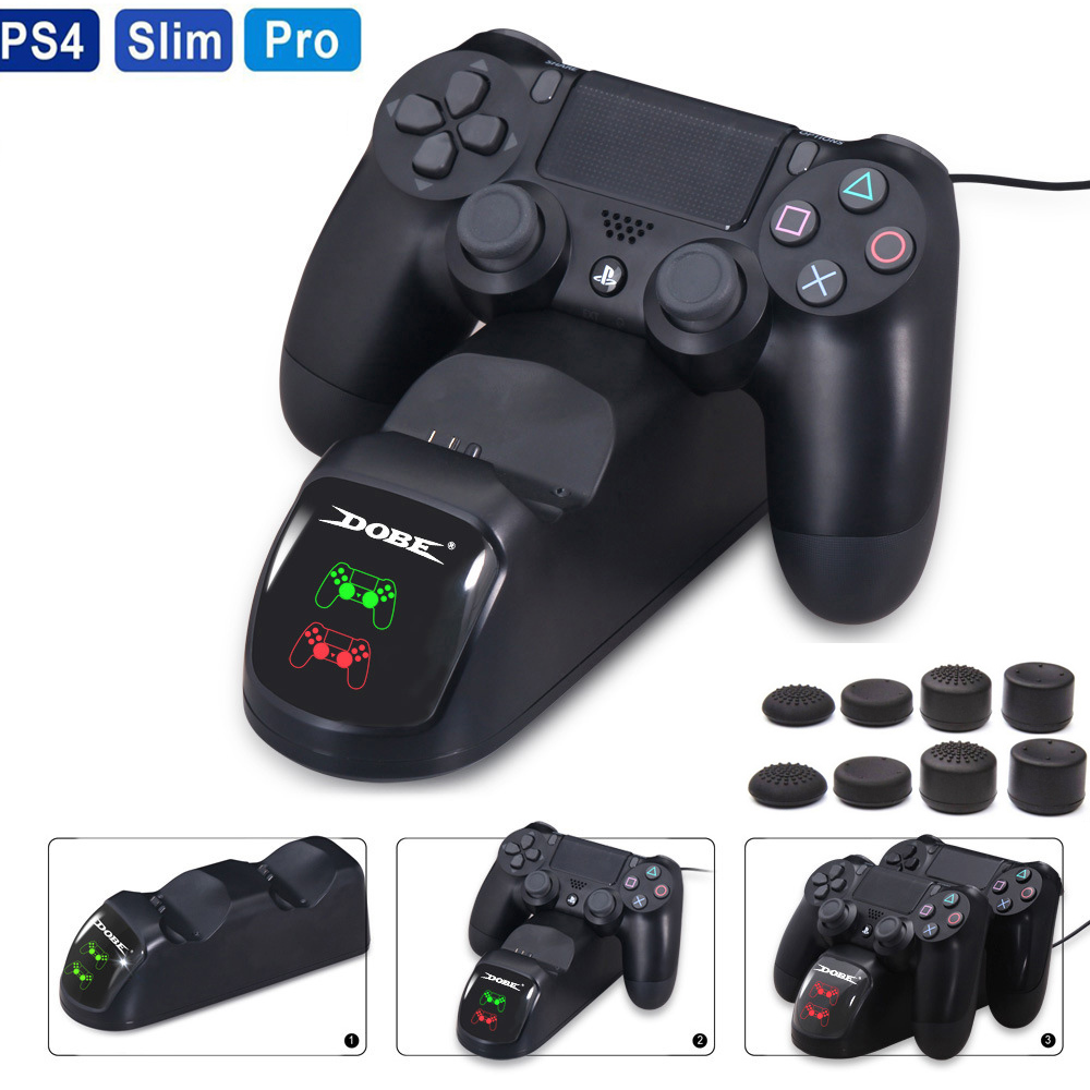 PS4 Controller Dual USB Charging Charger Docking Station Stand for PS4 / PS4 Slim / PS4 Pro Controller Storage Fast Charging