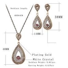 Fashion Fine Vintage Jewelry Crystal Water Drop Necklace Sets Pendant Earing For Women Turkish Gilded Nigerian Red Bead Necklace