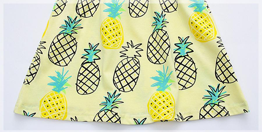 little maven 1-6year cotton party dresses yellow print pineapple little girls dresses o-neck girls dress for children clothing 12
