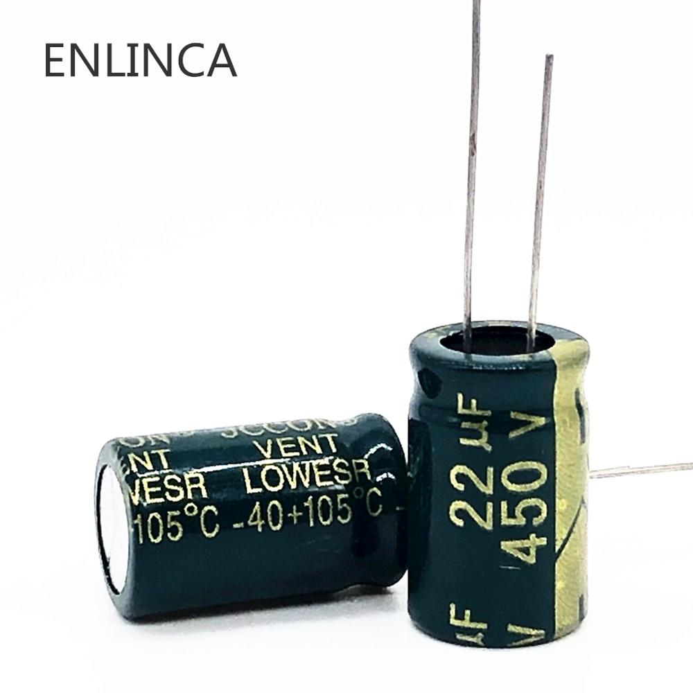 10~50pcs/lot 450v 22UF 450v22UF Low ESR/Impedance High Frequency Aluminum Electrolytic Capacitor Size 13*20 20%